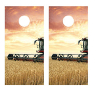 Wheat Harvest Field Scene Combine Cornhole Board Decal Wrap Set - 2 Decals Bean Bag - Let's Print Big