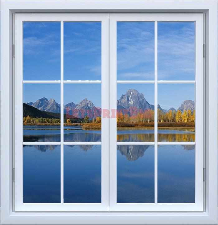 Window Mountains Lake Wall Decals - Let's Print Big