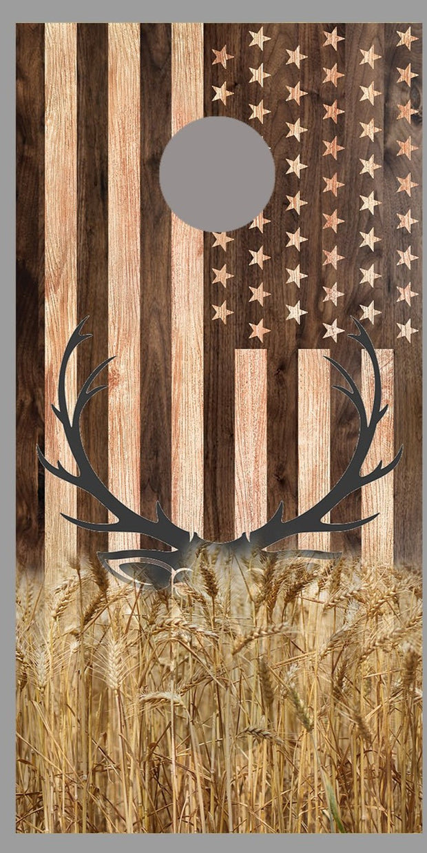 Buck Deer in Field Wood American Waving Flag Cornhole Board Decal Wraps