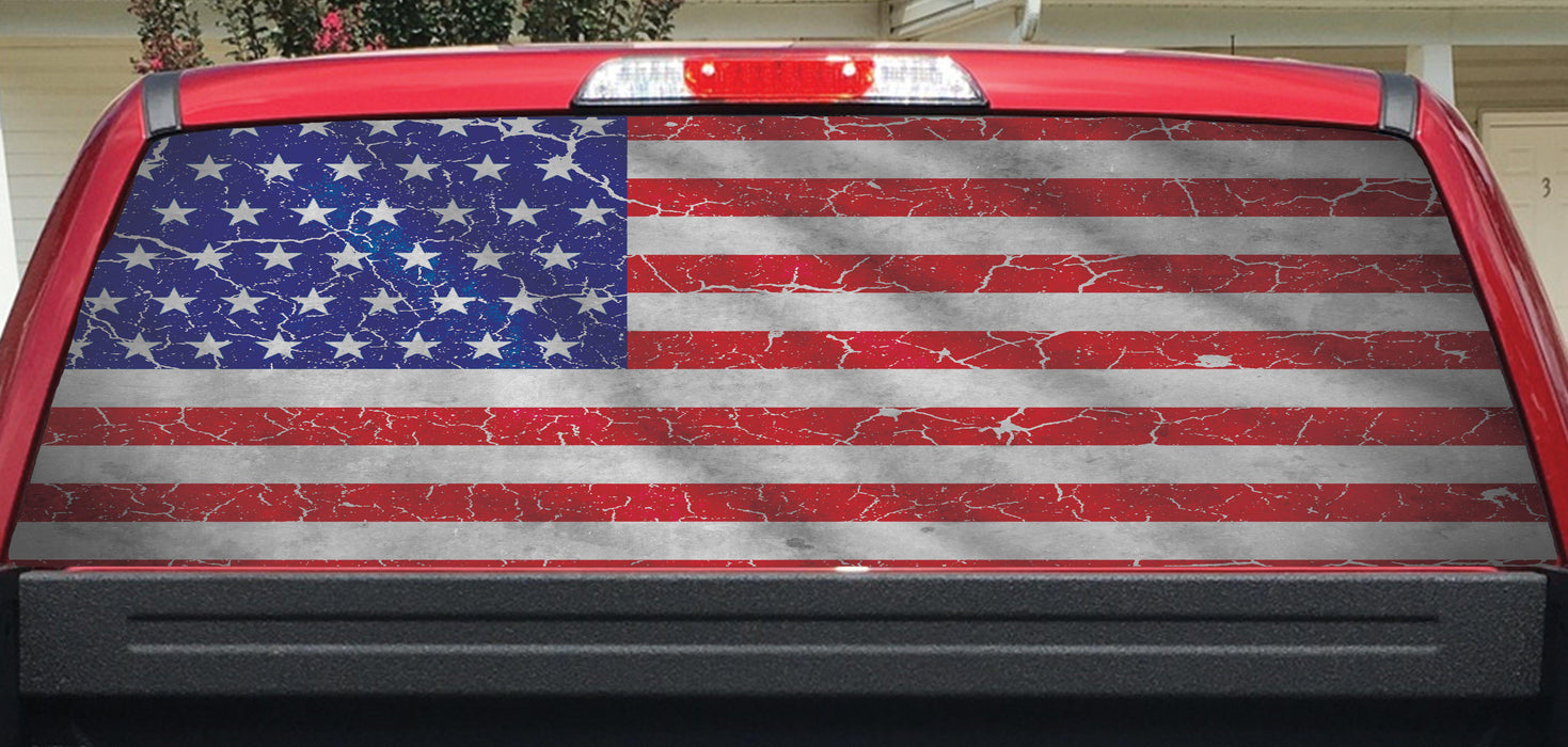 Worn american flag crackle rear window decal lets print big