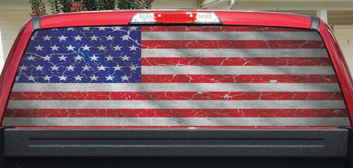 Worn American Flag Crackle Rear Window Decal