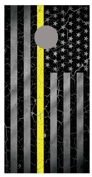 Yellow Line Crackle American Flag Cornhole Board Decal Wraps