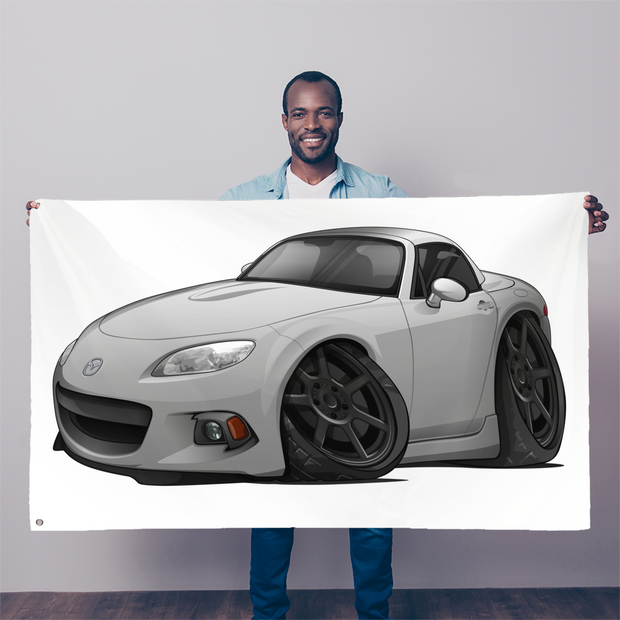 Gray Cartoon Car Hot Rod Sublimation Flag