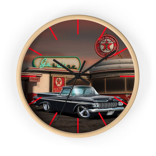 1959 Chevy El Camino Old Gas Station 2 Wall clock