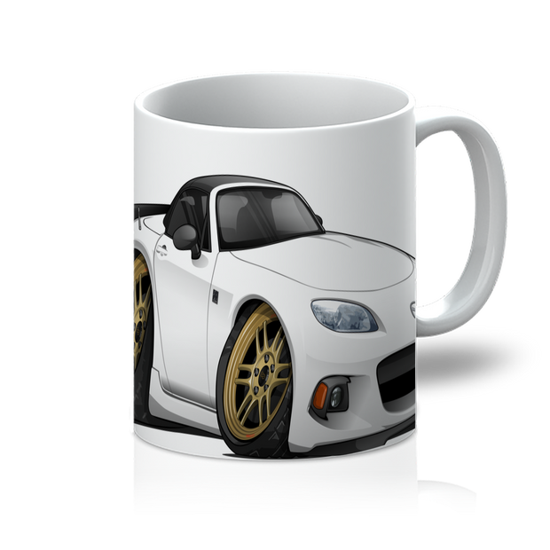 White Cartoon Car Hot Rod 11oz Mug