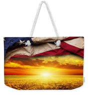 American Flag Harvest Sunset - Weekender Tote Bag