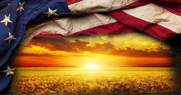 American Flag Harvest Sunset - Art Print