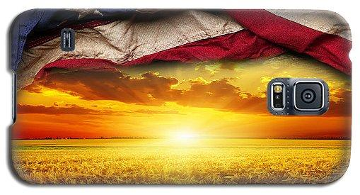 American Flag Harvest Sunset - Phone Case