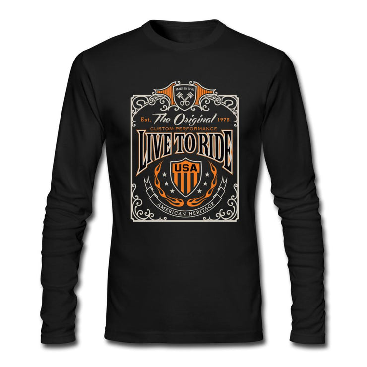 The Original Live to Ride Men's Long Sleeve T-Shirt by Next Level - black