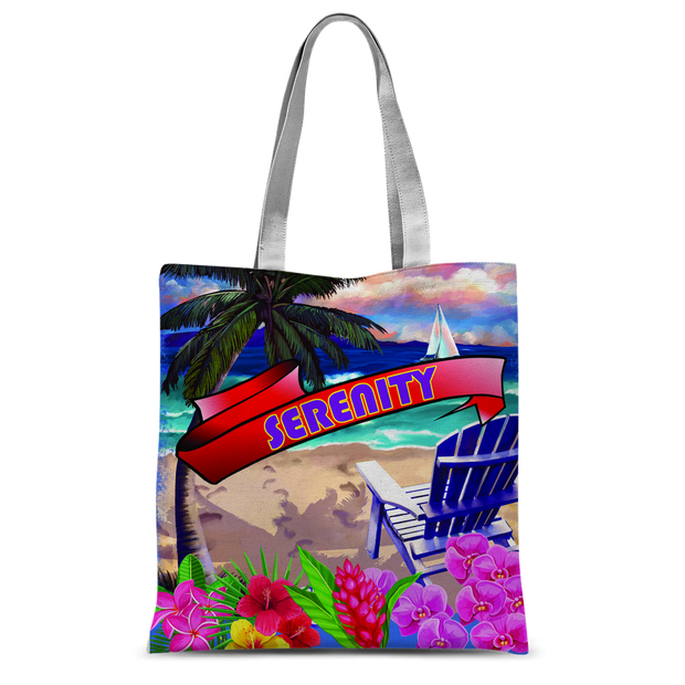 Serenity Beach Banner Design Classic Sublimation Tote Bag