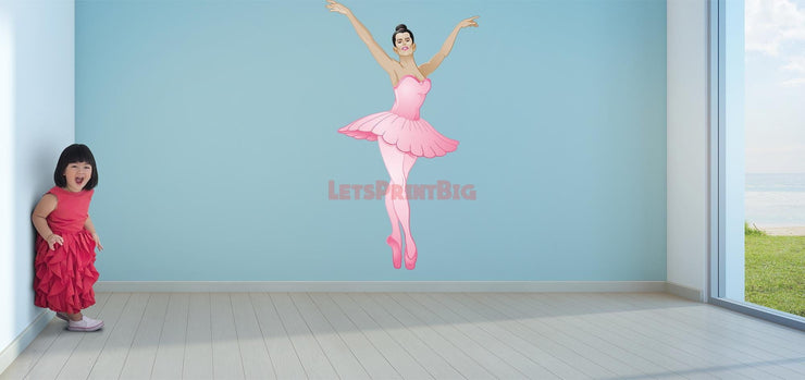Wall Art Ballerina Wall Decals Pink Removable Repositionable Fathead style - Let's Print Big