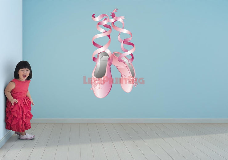 Wall Art Ballerina Dance Slipper shoes Wall Decals Removable Repositionable Fathead style - Let's Print Big