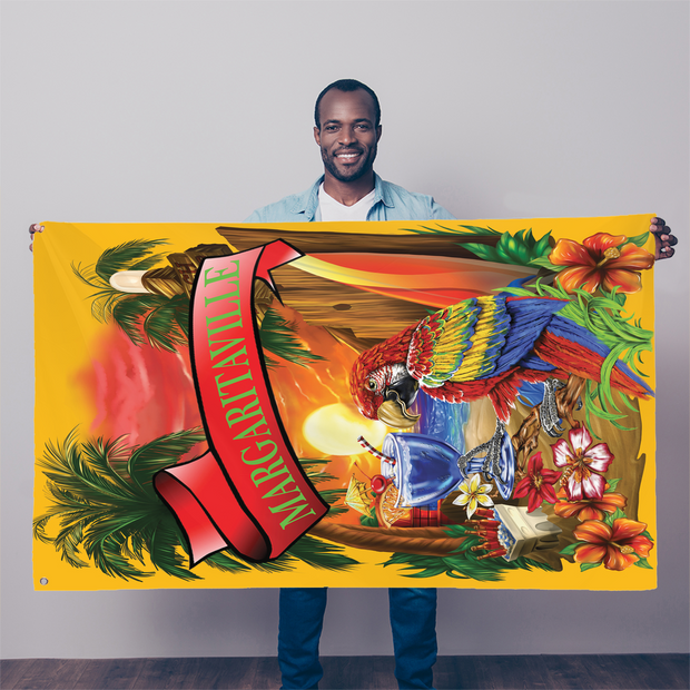 Margaritaville Orange Parrot Beach Sublimation Flag