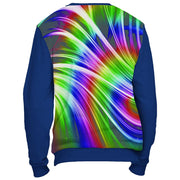 Rainbow Design Sweatshirt Cut and Sew All Over Print Blue