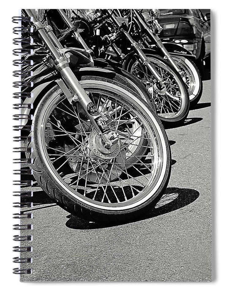 Black And White Motorcycles - Spiral Notebook