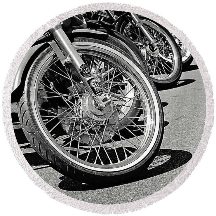 Black And White Motorcycles - Round Beach Towel