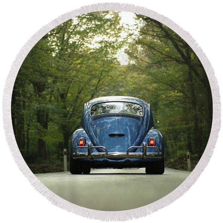 Bug On The Road - Round Beach Towel