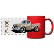 Ford F100 Pickup Truck Car Art Full Color Panoramic Mug - red