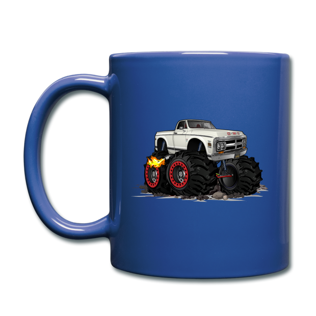 1972 GMC 4X4 Monster Pickup Truck Car Art Full Color Mug - royal blue