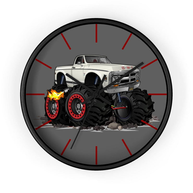 1972 GMC 4x4 Pickup Monster Truck with Rocks Car Art Wall clock