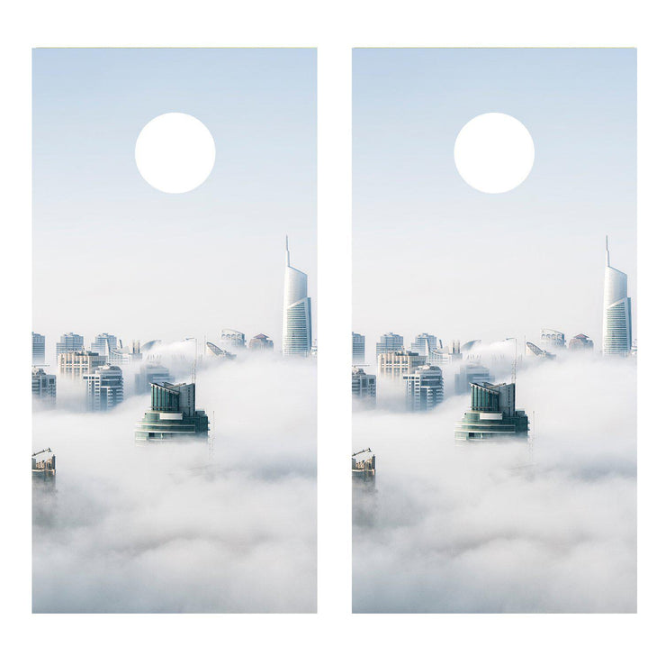 City Fog Landscape Cornhole Board Decal Decals Bean Bag Toss