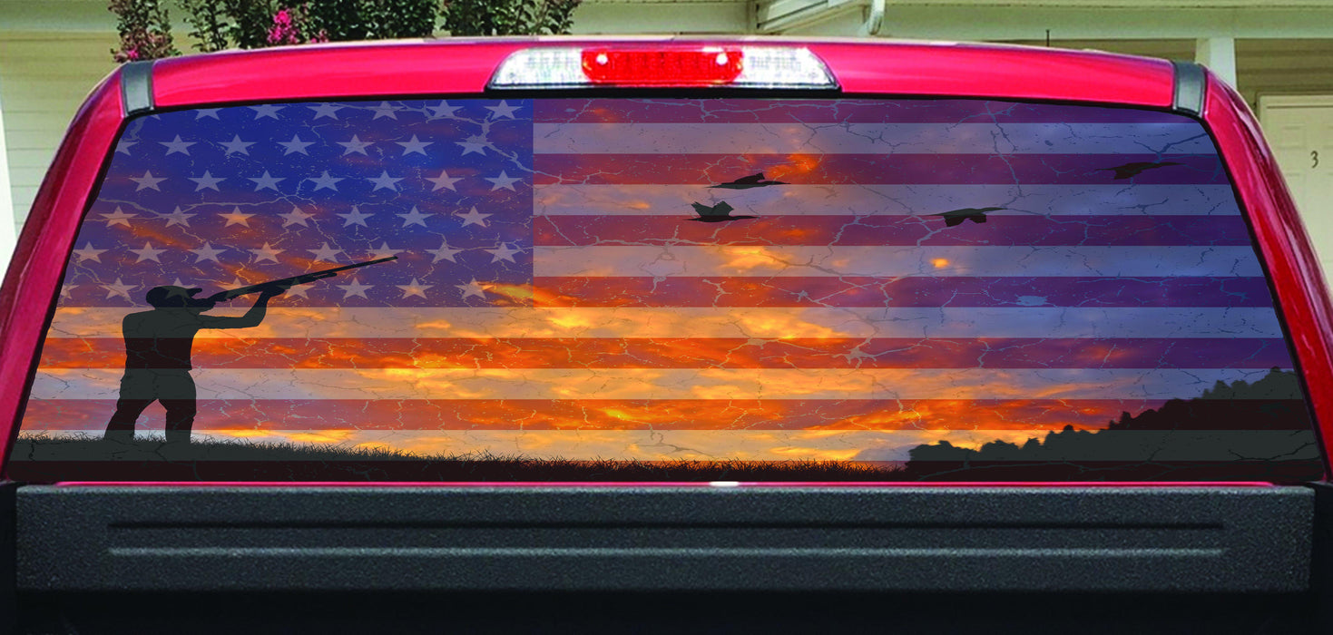 American flag duck hunter color rear window decal lets print big