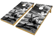 Vintage Black and White Airplane Ag Sprayer Cornhole Board Decal Set -  2 Decals - Let's Print Big
