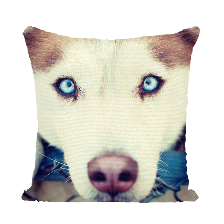 Siberian Husky Dog Sequin Cushion Cover