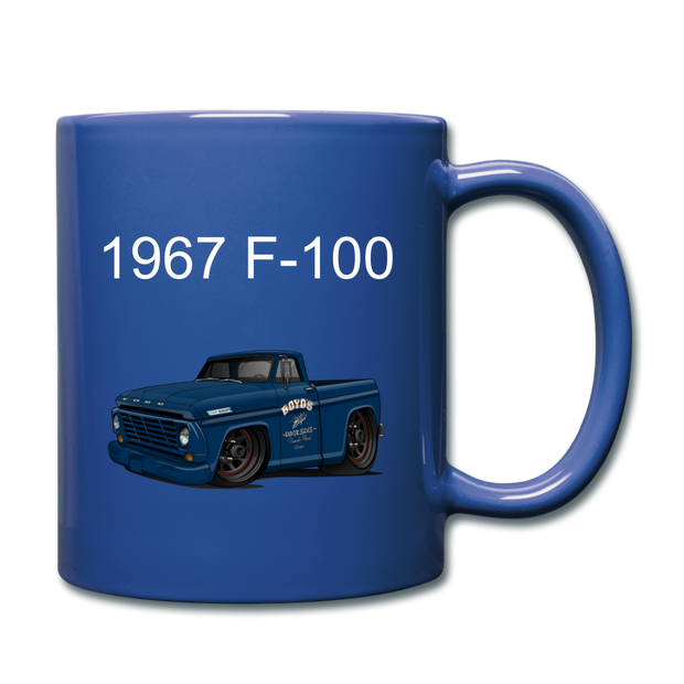 1967 Blue Ford F-100 Full Color Mug - royal blue
