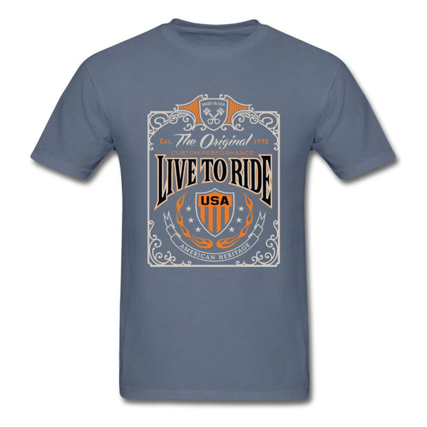 Live to Ride Men's T-Shirt - denim
