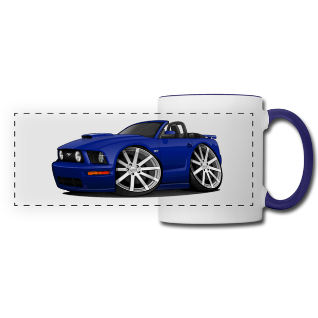 Ford Mustang Convertible Panoramic Mug - white/cobalt blue