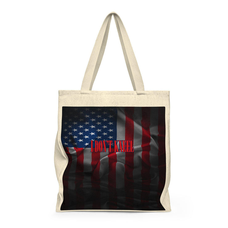 American Flag Dark I Don't Kneel Shoulder Tote Bag - Roomy - Let's Print Big