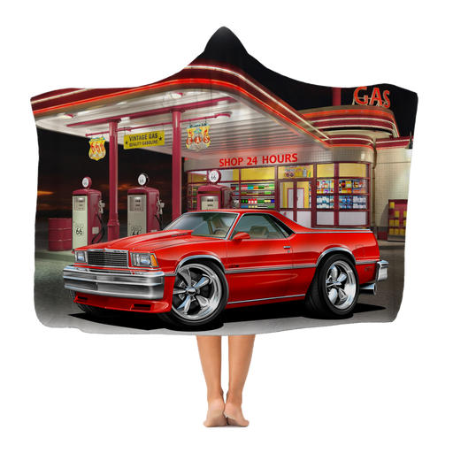 1978 Chevy El Camino Gas Station Route 66 Premium Adult Hooded Blanket