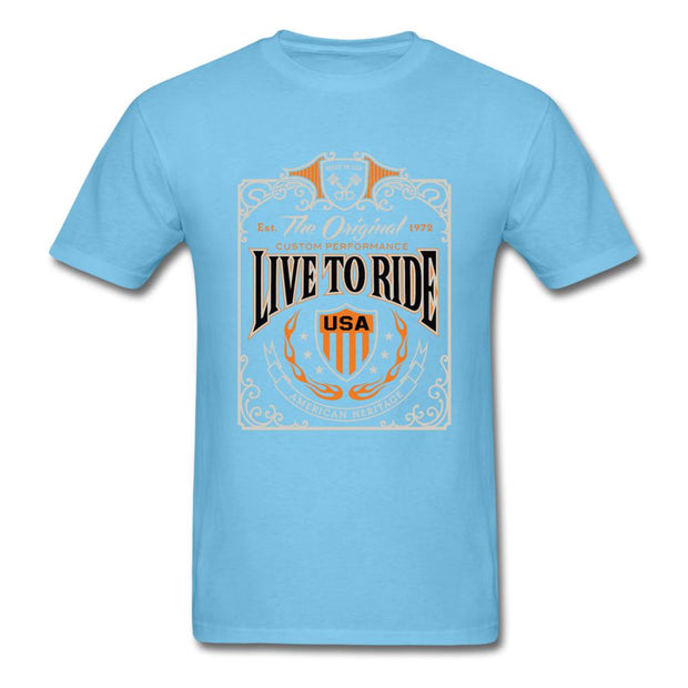 Live to Ride Men's T-Shirt - aquatic blue