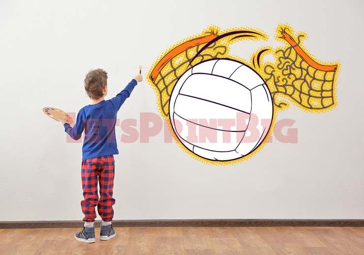 FIRE VOLLEYBALL NET WALL DECAL REMOVALBE REPOSITIONABLE FATHEAD STYLE - Let's Print Big