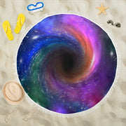 Black Hole Beach Blanket Round Beach