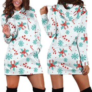 Candy Cane Blue Hoodie Dress