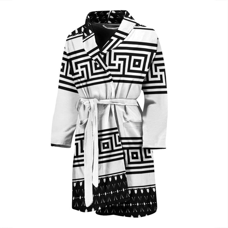 Pattern Black and White  Men's Bath Robe