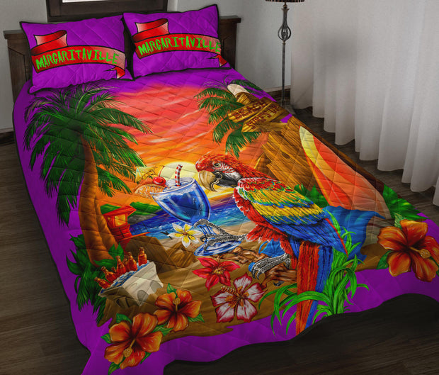 Margaritaville Parrot Beach Sunset Purple Quilt Set