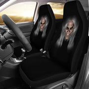 Scary Horror Gray Hair Design Black Seat Covers
