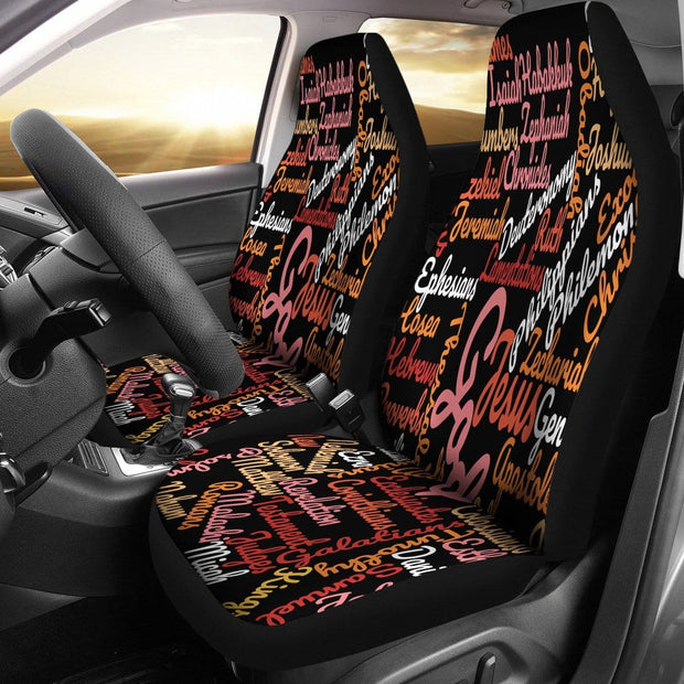 Custom-Made Holy Bible Books Black Car Seat Covers