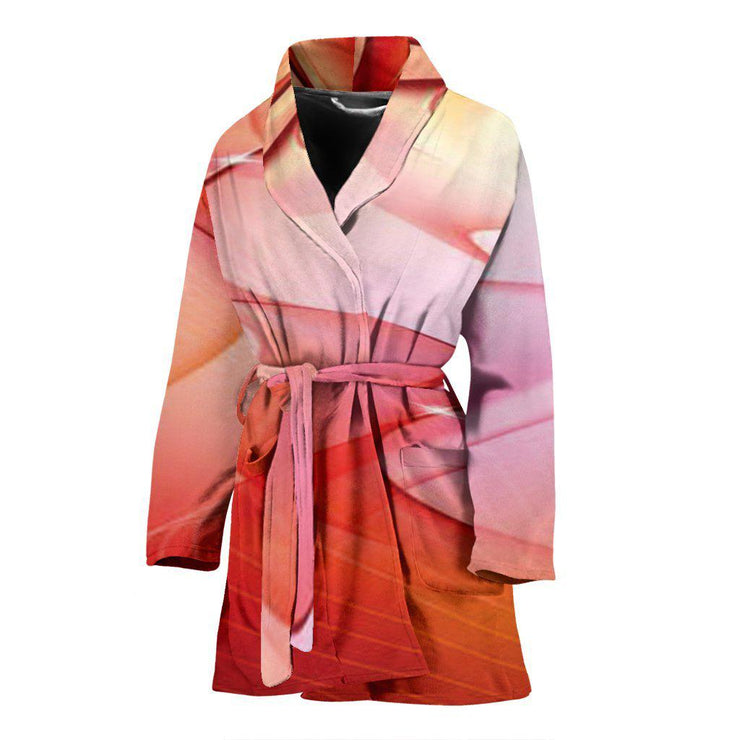 Womens Liquid Red Design Bathrobe