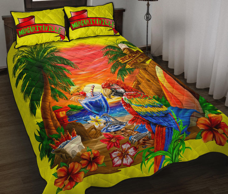 Margaritaville Sunset Yellow Parrot Quilt Set