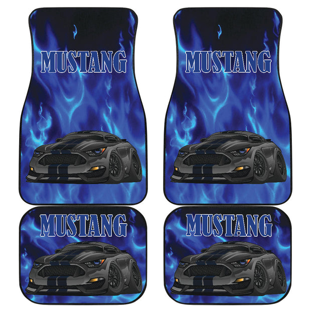 Black Ford Mustang Blue Flames Front and Rear Car Floor Mats Set of 4 Pcs