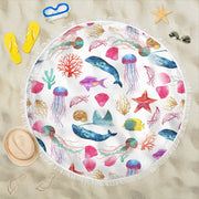 Watercolor Ocean Beach Blanket with Whales Fish Starfish and Jellyfish Round Beach