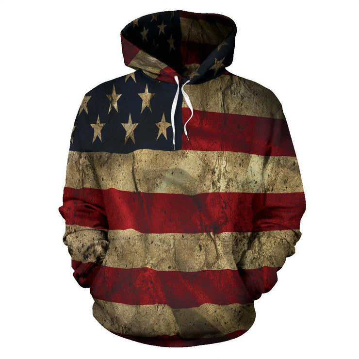 Aged American Flag All Over Print Hoodie