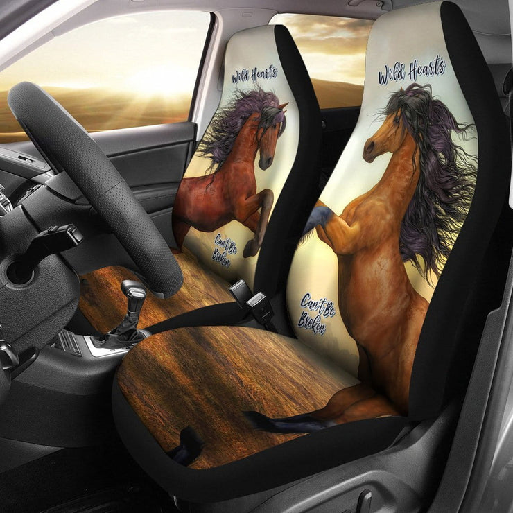 Wild Hearts Can't Be Broken Car Seat Covers For Horse Lovers (Set of 2)