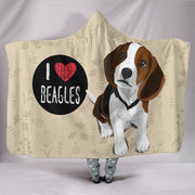 I Love Beagles Hoodie Blanket for Lovers of Beagle Dogs