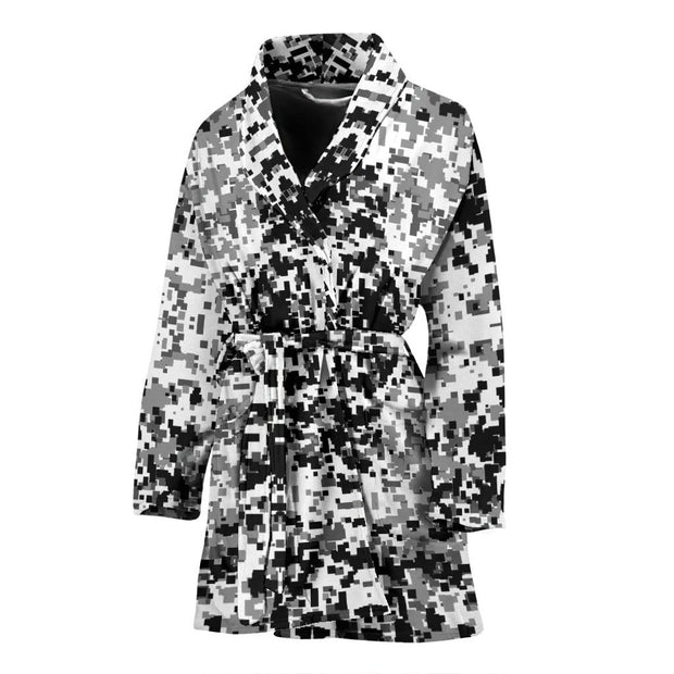 Digital Camouflage Black & White Womens Bath Robe