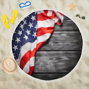 Vintage American Flag Wood Siding Round Beach Towel Blanket